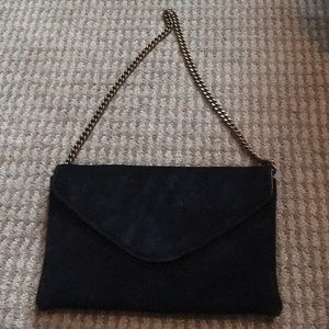 J. Crew black suede purse with metal chain